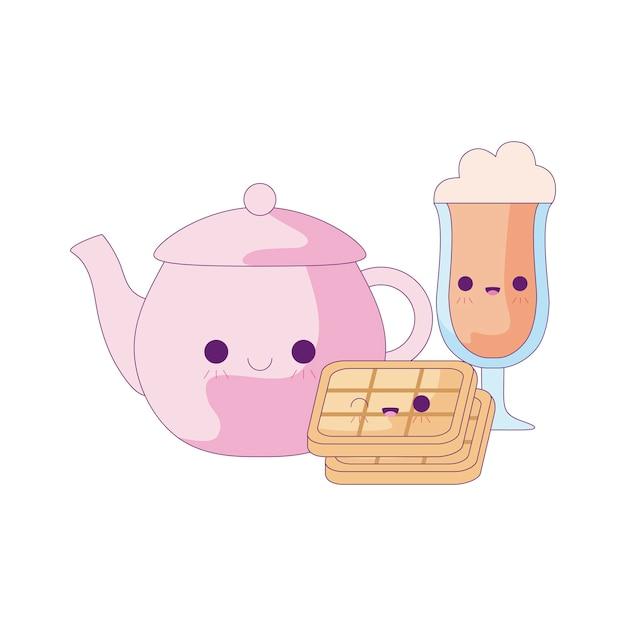 Süße teekanne im set food kawaii style Premium Vektoren