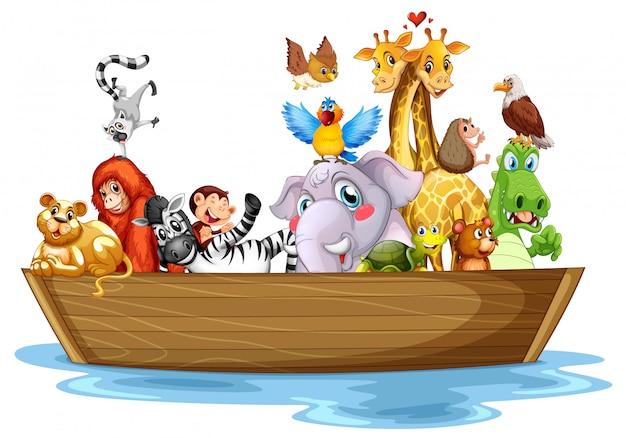 Süße tiere auf dem boot Kostenlosen Vektoren