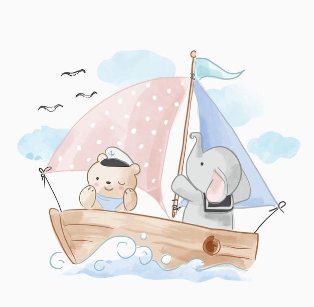 Süße tiere freund segeln auf dem boot Premium Vektoren