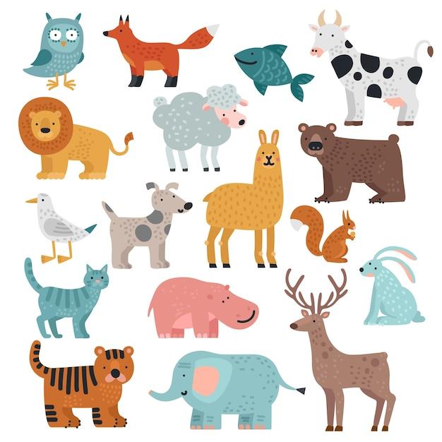 Süße tiere. tiger, eule und bär, elefant und löwe, lama und hirsch, hase und hund, eichhörnchen wild und farm cartoon tier vektor set Premium Vektoren