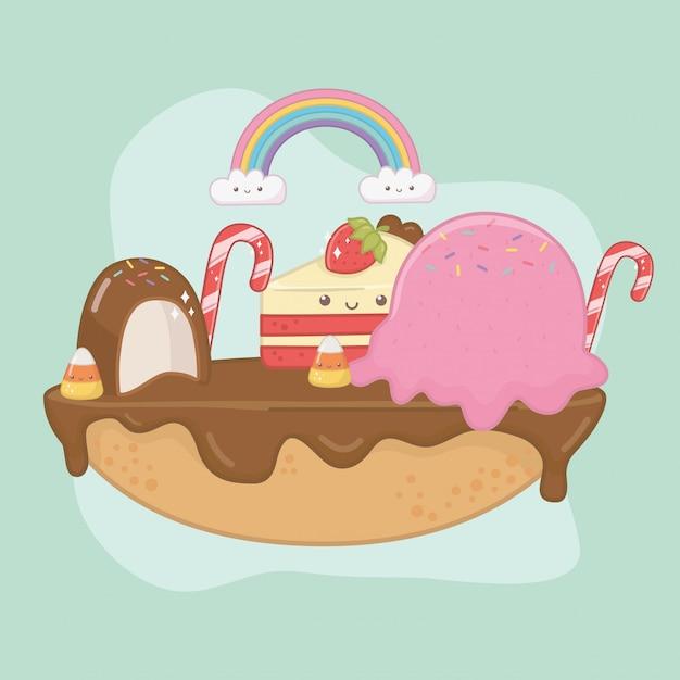 Süße torte schokoladencreme mit kawaii charakteren Kostenlosen Vektoren