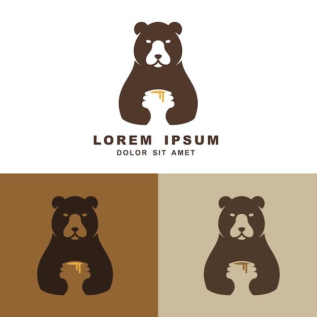 Süße umarmungshonigvektorlogo-ikonenillustration des bären Premium Vektoren