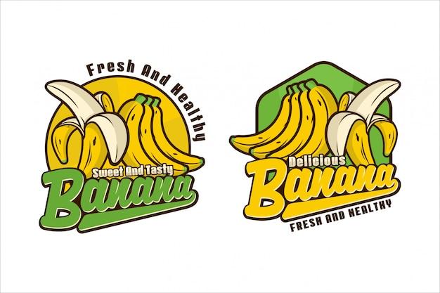 Süße und leckere bananen-logo-design-kollektion Premium Vektoren