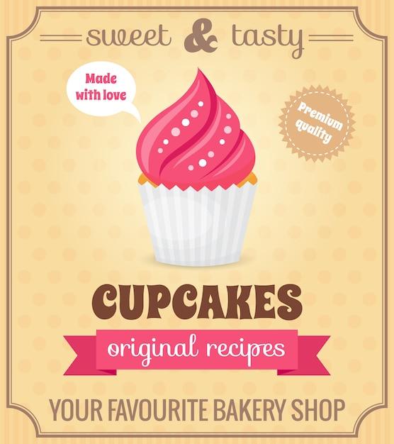 Süße und leckere lebensmittel dessert original rezept cupcake retro poster vektor-illustration Kostenlosen Vektoren