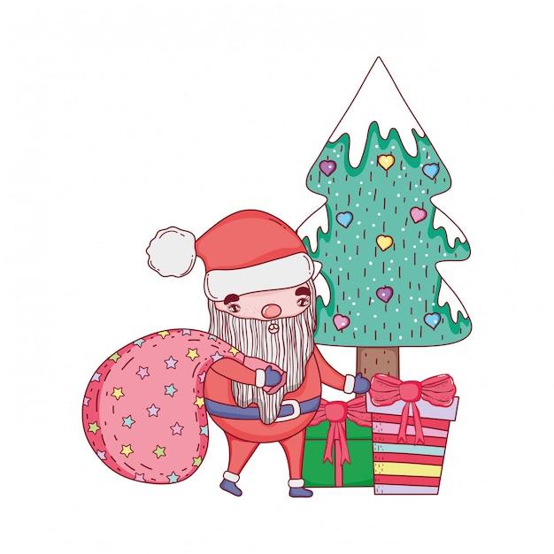 Süße weihnachten weihnachtsmann mit tasche Premium Vektoren