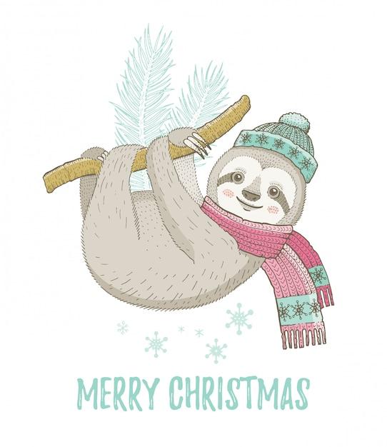 Süße weihnachtsfaultier. für grußkarten oder t-shirt-print-design. Premium Vektoren