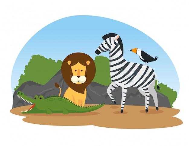 Süße wilde tiere in der safari reserve Kostenlosen Vektoren