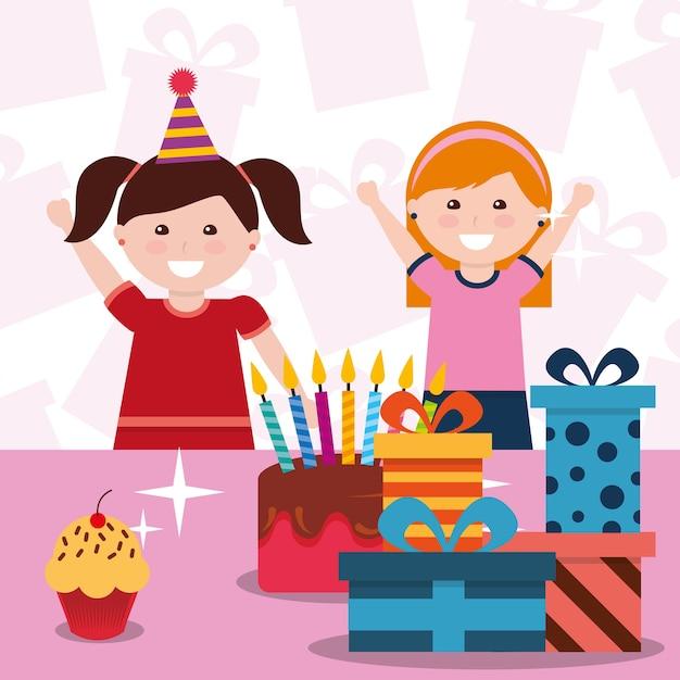 Süße zwei mädchen mit partyhut kuchen und geschenkboxen Premium Vektoren