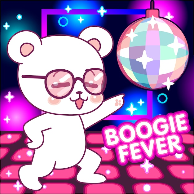 Süßer bär auf der tanzfläche, 70er disco-fieber, boogie Premium Vektoren