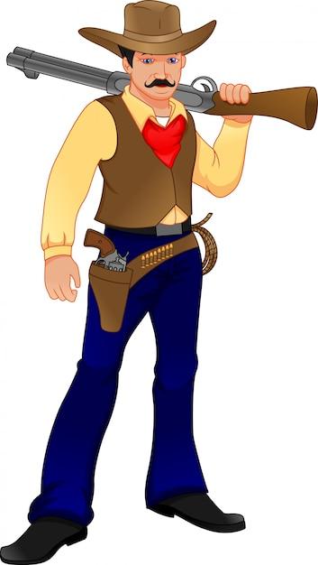 Süßer cowboy mit pistole Premium Vektoren