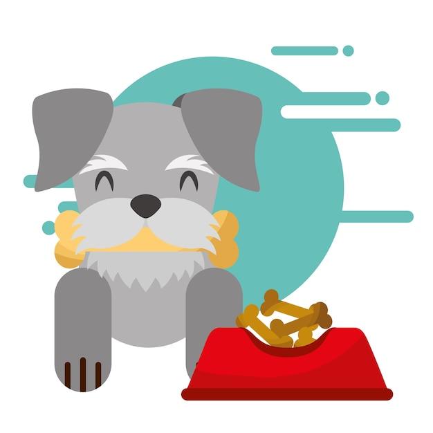 Süßer hund mit knochen im mund schüssel essen Premium Vektoren