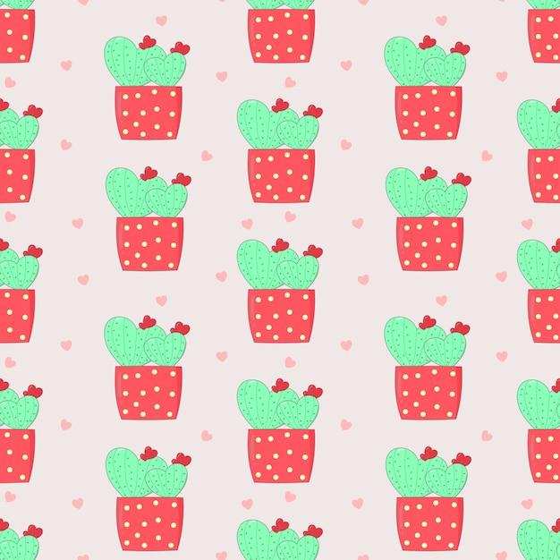 Süßer kaktus des nahtlosen musters in der liebe im rosa topf Premium Vektoren