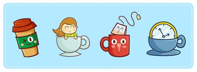 Süßer kawaii kaffee und tee für das töten der zeit Premium Vektoren