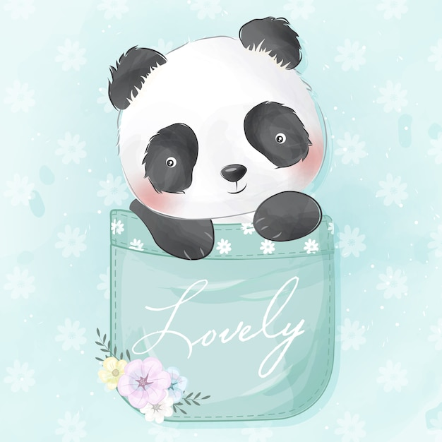 Süßer kleiner panda in der tasche Premium Vektoren