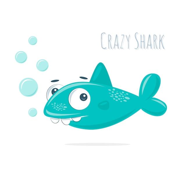 Süßer kleiner verrückter hai mit blasen Premium Vektoren