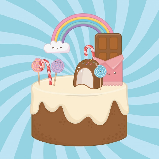 Süßer kuchen der schokoladencreme mit kawaii charakteren Kostenlosen Vektoren