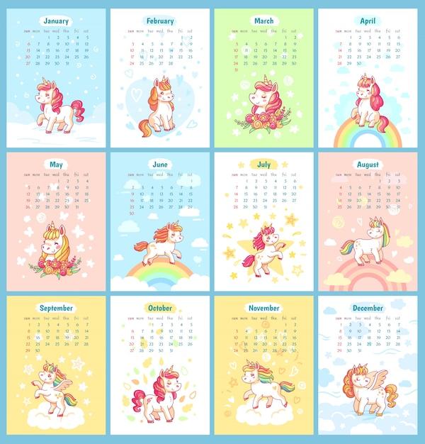 Süßer niedlicher magischer kalender des einhorns 2019 für kinder. feenhafte einhörner mit regenbogenkarikatur-vektorschablone für kalender entwerfen Premium Vektoren