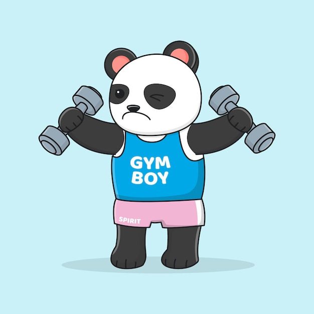 Süßer panda trainiert mit hantel Premium Vektoren