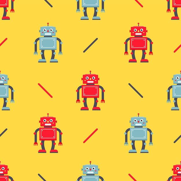 Süßer roboter nahtlose muster. kindercharakter für stoff und verpackung Premium Vektoren