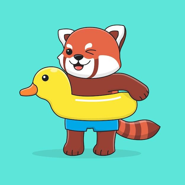 Süßer roter panda mit schwimmringente Premium Vektoren