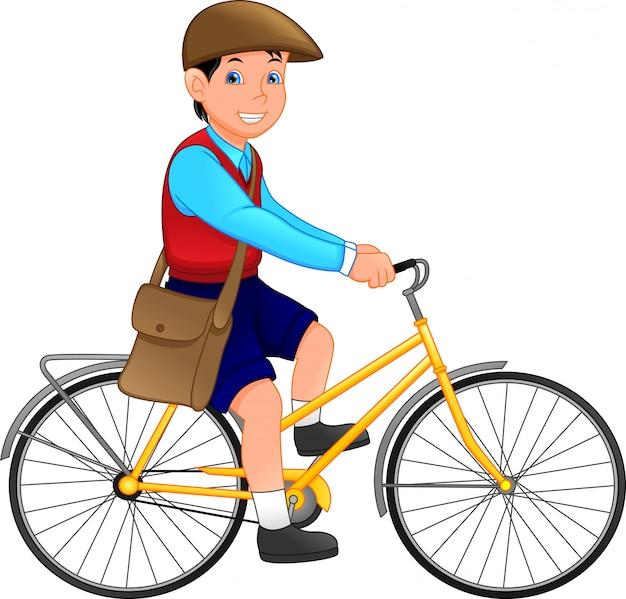 Süsser schuljunge mit fahrrad Premium Vektoren
