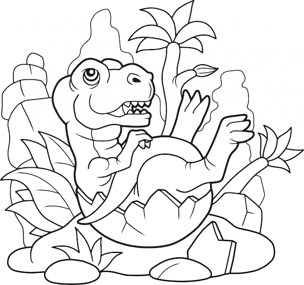 Süßer tyrannosaurus Premium Vektoren