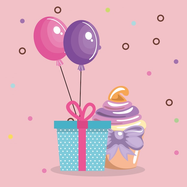 Süßer und köstlicher kleiner kuchen mit geschenk und ballonen Kostenlosen Vektoren