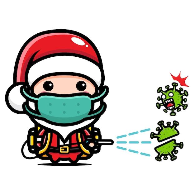 Süßer weihnachtsmann sprüht desinfektionsmittel Premium Vektoren