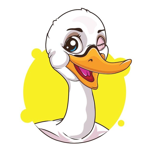 Süßer weißer schwan avatar Premium Vektoren