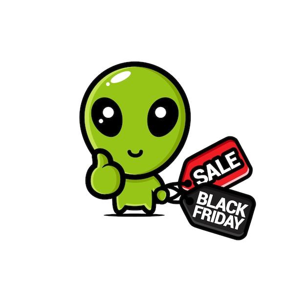 Süßes alien mit schwarzem freitag rabatt Premium Vektoren