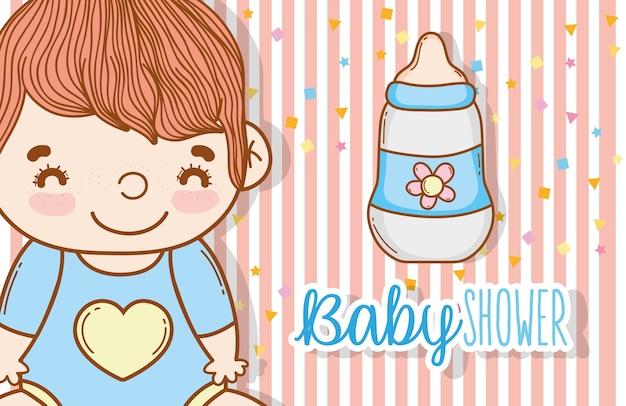Süßes baby mit saugflasche Premium Vektoren