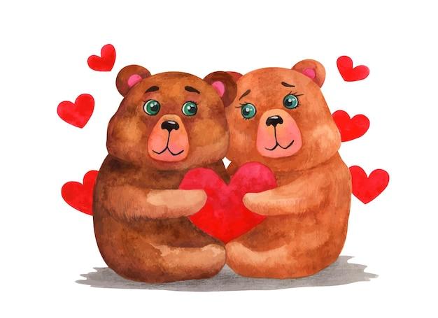 Süßes bärenpaar des valentinstags des aquarells Premium Vektoren