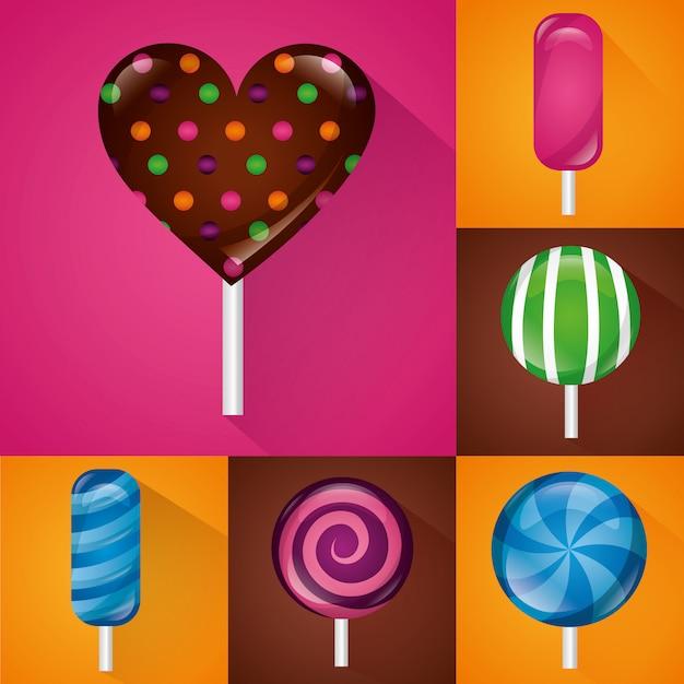 Süßes bonbonset Kostenlosen Vektoren