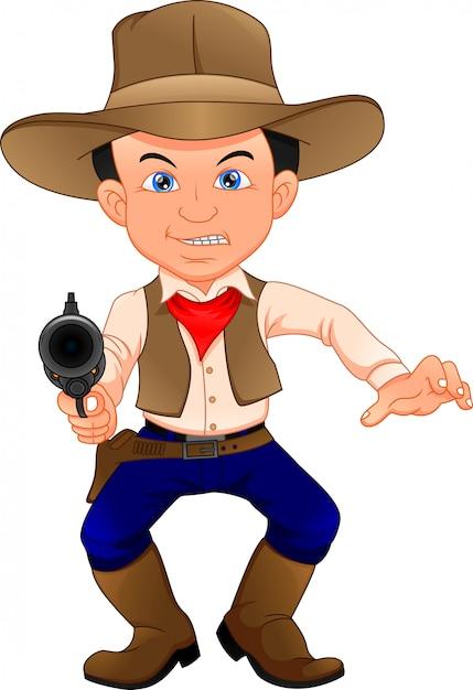 Süßes cowboy kind mit waffe Premium Vektoren