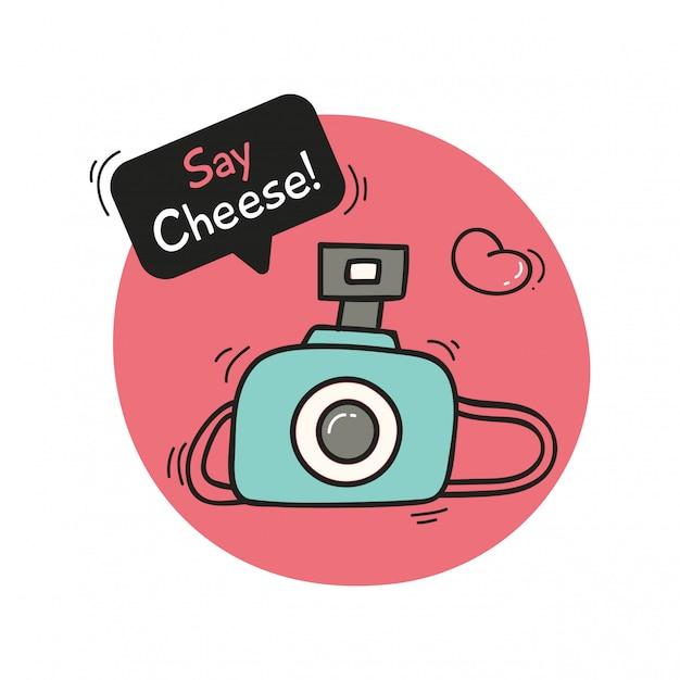 Süßes design mit kamera Premium Vektoren