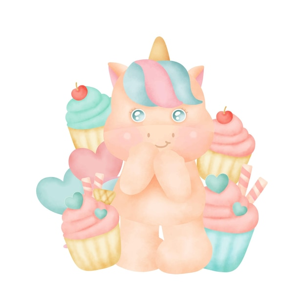 Süßes einhorn mit cupcakes Premium Vektoren