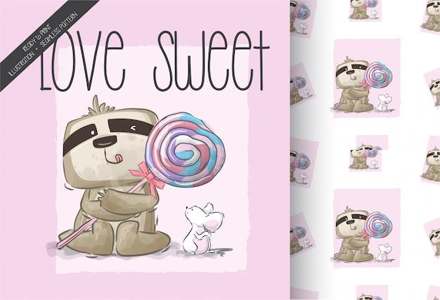 Süßes faultier der karikatur mit nahtlosem muster der süßen süßigkeit Premium Vektoren