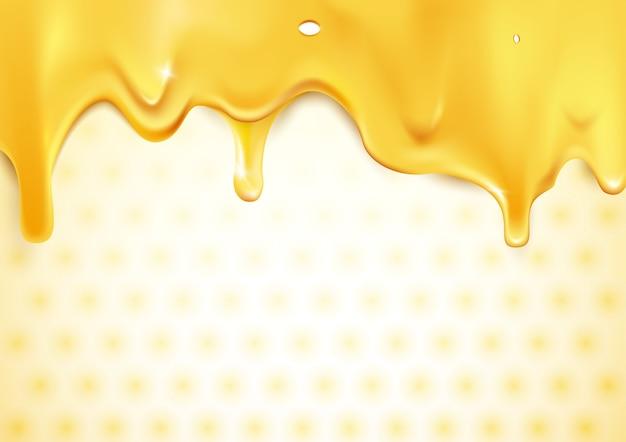 Süßes gold tropft honig auf bienenwabenhintergrund Premium Vektoren