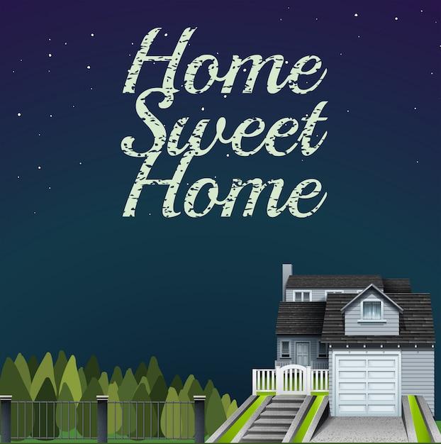 Süßes haupthaus an der nachtzeitkarte Kostenlosen Vektoren