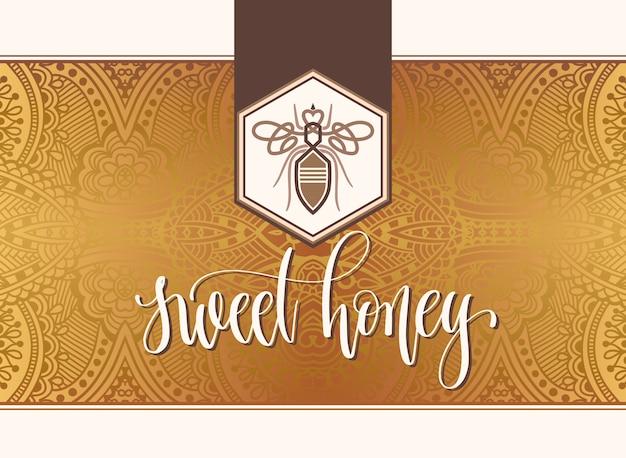 Süßes honigfirmenzeichendesign mit handbeschriftungsaufschrift Premium Vektoren