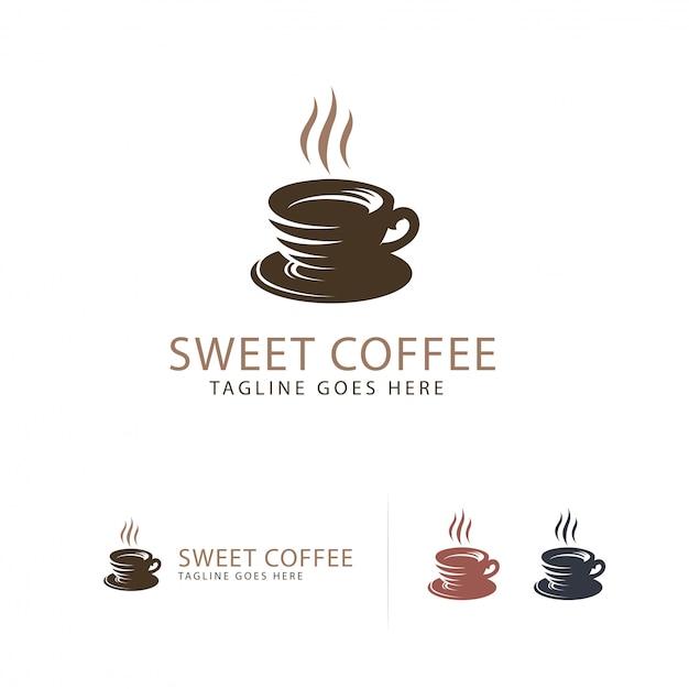 Süßes kaffeetasse-logo Premium Vektoren