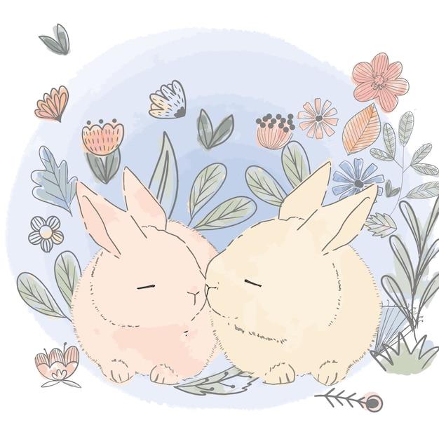 Süßes kaninchen im blumengarten Premium Vektoren