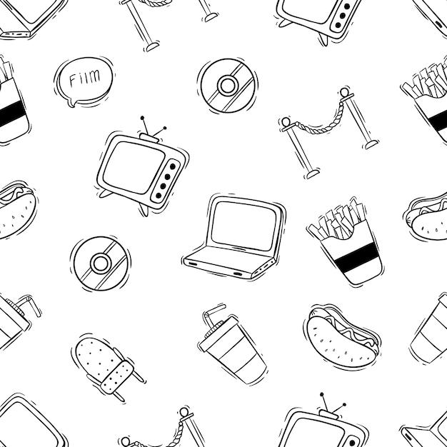 Süßes kino nahtlose muster mit hand gezeichnet oder doodle-stil Premium Vektoren
