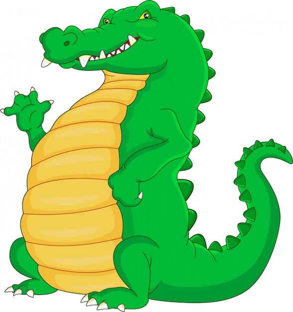 Süßes krokodil cartoon winken Premium Vektoren