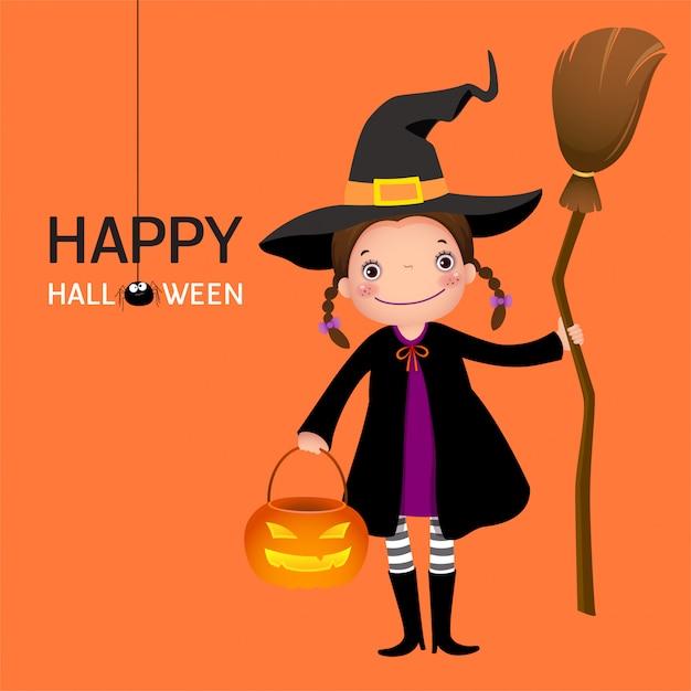 Süßes mädchen der halloweenhexe mit besenstiel und kürbis Premium Vektoren
