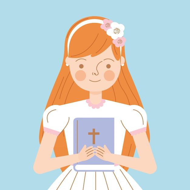 Süßes mädchen mit bibel Premium Vektoren