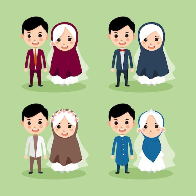 Süßes muslimisches paar Premium Vektoren