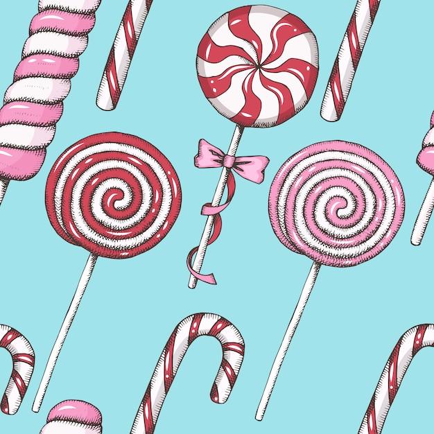 Süßes muster mit hand gezeichneten roten und rosa lutschern. nahtloser hintergrund. Premium Vektoren