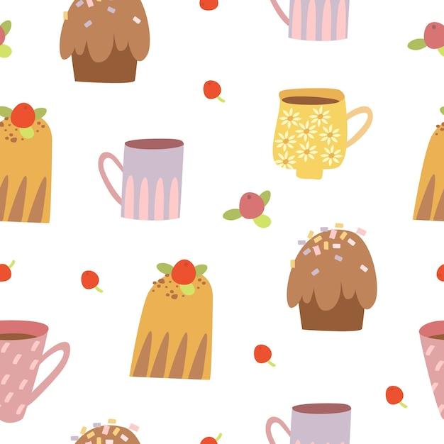 Süßes nahtloses muster mit cupcakes Kostenlosen Vektoren