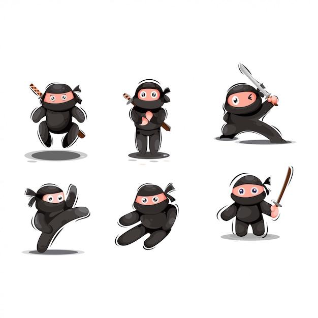 Süßes ninja maskottchen Premium Vektoren